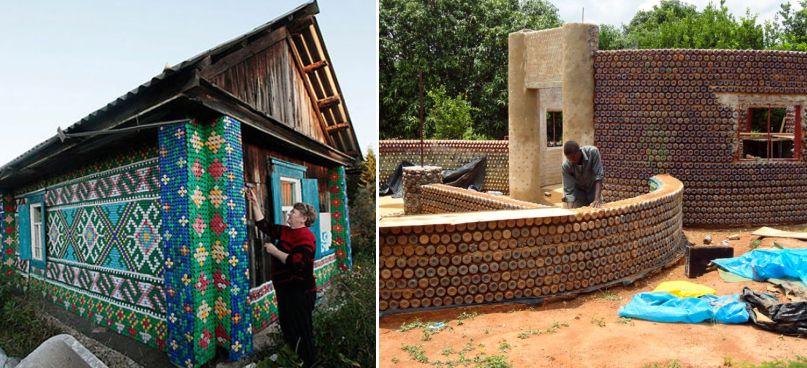 Case realizzate con bottiglie di plastica in Nigeria